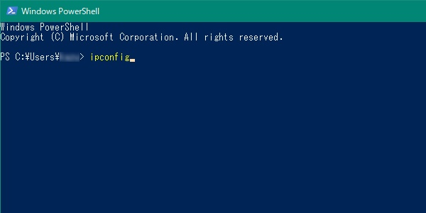 Windows Powershellにipconfigと入力する。