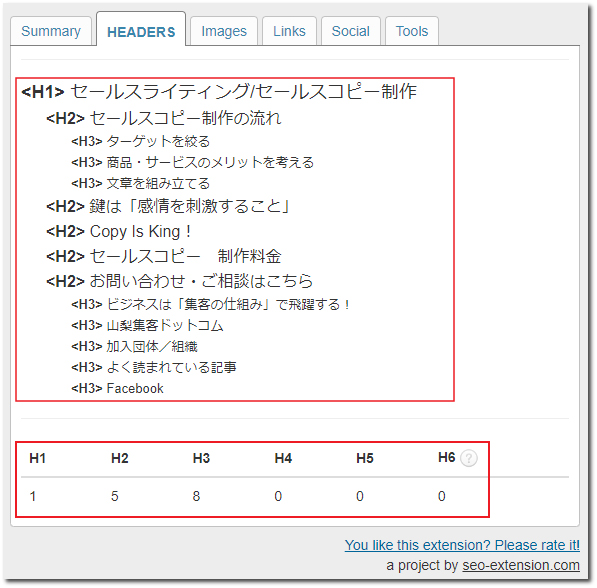 SEO META in 1 CLICKのHEADERSタブ